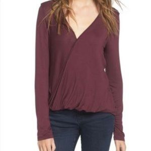 Lush Long-Sleeved Front Wrap Top Medium